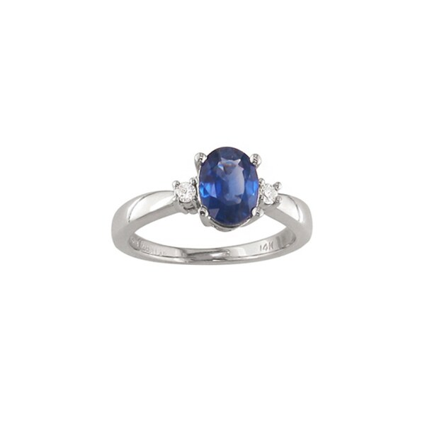14k White Gold Sapphire and Diamond Accent Ring