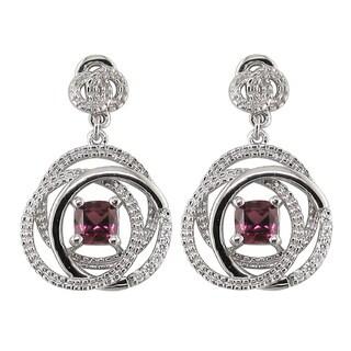 14k White Gold Cushion Rhodolite Garnet 1/8 CT TW Diamond Dangle Earrings (H, SI3