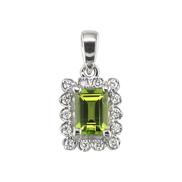 14k White Gold Emerald Cut Peridot 1/5 CT TW Diamond Pendant (H, I1)