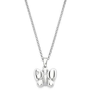 Little Diva Diamonds Silver Children's Diamond Accent Butterfly Necklace