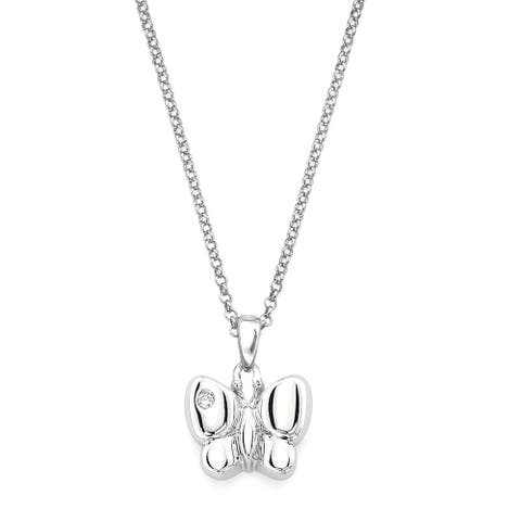 Little Diva Diamonds Girl's 925 Sterling Silver .01ct TDW Diamond Accent Butterfly Pendant w/ Chain