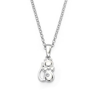 Little Diva Diamonds Silver Children's Diamond Accent Kitten Necklace