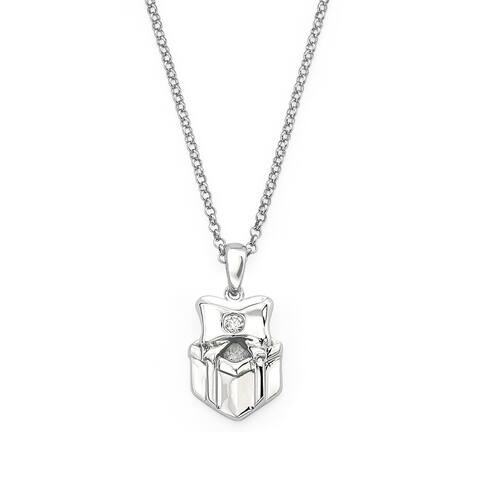 Little Diva Diamonds Girl's 925 Sterling Silver .01ct TDW Diamond Accent Present Pendant w/ Chain