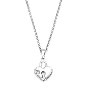 Little Diva Diamonds Silver Children's Diamond Accent Heart Lock Necklace
