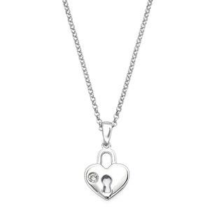Little Diva Diamonds Girl's 925 Sterling Silver .01ct TDW Diamond Accent Heart Lock Pendant w/ Chain