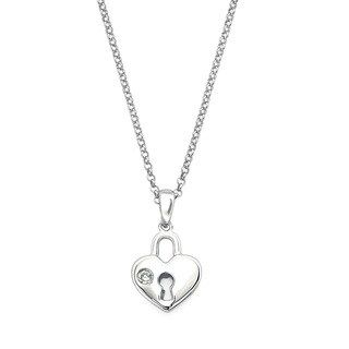 Little Diva Diamonds Girl's 925 Sterling Silver .01ct TDW Diamond Accent Heart Lock Pendant w/ Chain