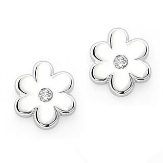 Little Diva Diamonds Girl's 925 Sterling Silver .02ct TDW Diamond Flower Stud Earrings
