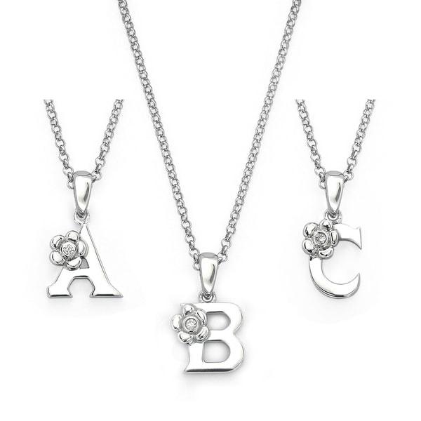 Little Diva Diamonds Sterling Silver Diamond Accent Initial Pendant Necklace
