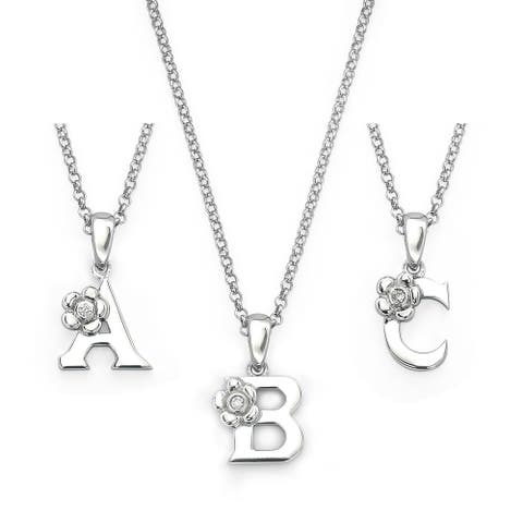 Little Diva Diamonds Girl's 925 Sterling Silver .01ct TDW Diamond Accent Initial Pendant w/ Chain