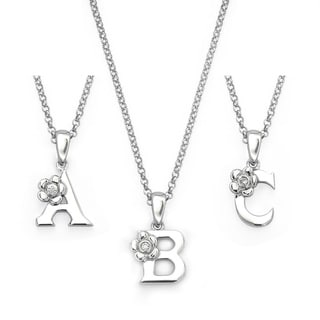 Little Diva Diamonds Sterling Silver Diamond Accent Initial Pendant Necklace
