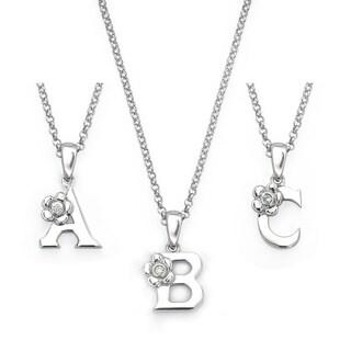 Little Diva Diamonds Girl's 925 Sterling Silver .01ct TDW Diamond Accent Initial Pendant w/ Chain (Option: White)