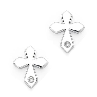 Little Diva Diamonds Sterling Silver Diamond Accent Cross Earrings