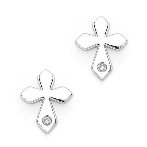 Little Diva Diamonds Girl's 925 Sterling Silver .02ct TDW Diamond Accent Cross Stud Earrings