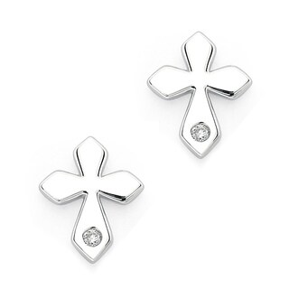 Little Diva Diamonds Girl's 925 Sterling Silver .02ct TDW Diamond Accent Cross Stud Earrings