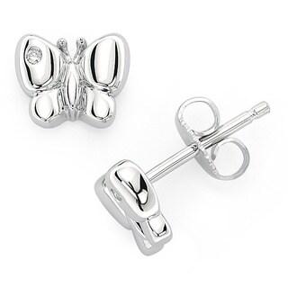 Little Diva Diamonds Girl's 925 Sterling Silver .02ct TDW Diamond Accent Butterfly Stud Earrings