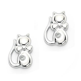 Little Diva Diamonds Girl's 925 Sterling Silver .02ct TDW Diamond Kitten Stud Earrings