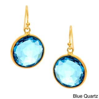 Handmade Goldplated Faceted Gemstone Earrings (India)