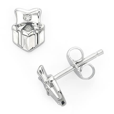 Little Diva Diamonds Girl's 925 Sterling Silver .02ct TDW Diamond Accent Present Stud Earrings