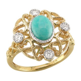 14k Two-tone Gold Amazonite and 1/10ct TDW Diamond Ring (H, SI3)