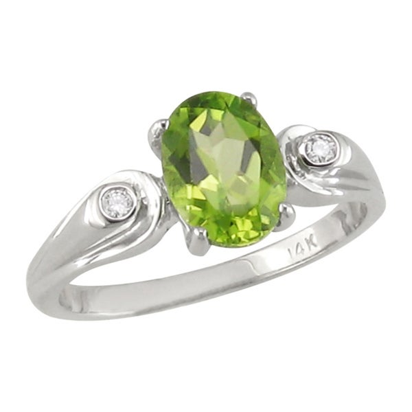 14k White Gold Peridot and Diamond Accent Ring
