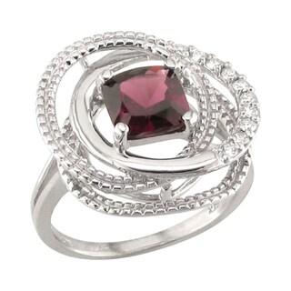 14k White Gold Rhodolite Garnet and 1/5ct TDW Diamond Ring (H, SI3)