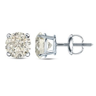 Auriya Platinum 1 Ct to 2 Ct TDW Certified Round Diamond Stud Earrings (J-K, I1-I2)