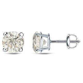 Auriya Platinum 1/4 Ct to 3/4 Ct TDW Round Diamond Stud Earrings (J-K, I1-I2)