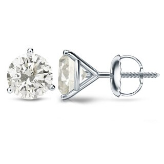 Auriya Platinum 1 Ct to 2 Ct TDW Certified Martini Diamond Stud Earrings (H-I, SI1-SI2)