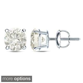 Auriya Platinum 1 Ct to 2 Ct TDW Certified Round Diamond Stud Earrings (H-I, SI1-SI2)