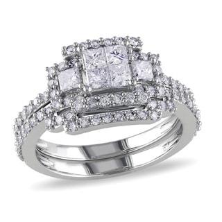 Miadora Signature Collection 14k White Gold 1 1/5ct TDW Bridal Ring Set (G-H, I1-I2)