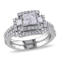 Miadora Signature Collection 14k White Gold 1 1/5ct TDW Diamond Quad Halo Bridal Ring Set