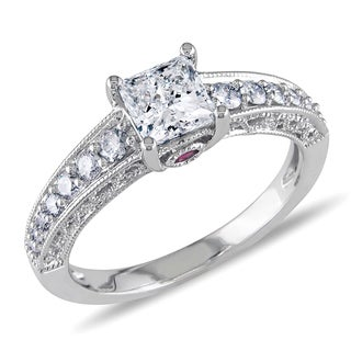 L'Amour Enrose by Miadora 14k White Gold 1ct TDW Princess Diamond Ring