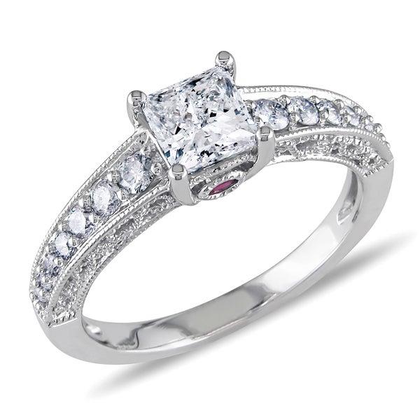 L'Amour Enrose by Miadora 14k White Gold 1ct TDW Princess Diamond Ring