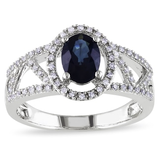 Miadora 10k White Gold Sapphire and 1/5ct TDW Diamond Ring (G-H,I1-I2)
