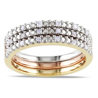 Miadora Silver Diamond 3-Piece Stackable Diamond Ring Set