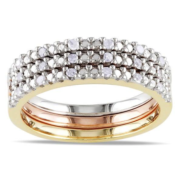 Miadora Silver Diamond 3-Piece Stackable Diamond Ring Set
