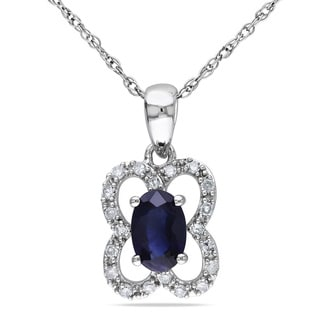 Miadora 10k White Gold Sapphire and 1/10ct TDW Diamond Necklace (G-H, I1-I2)