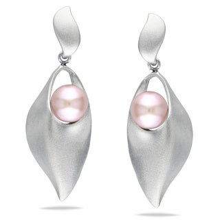 Miadora Sterling Silver Freshwater Pink Pearl Earrings