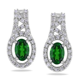 Miadora 10k White Gold Chrome Diopside 1/4ct TDW Diamond Earring (G-H, I1-I2)