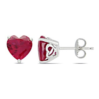 Miadora Sterling Silver Created Ruby Solitaire Heart Earrings