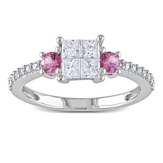 Miadora 14k White Gold 1/2ct TDW Diamond and Pink Sapphire Ring