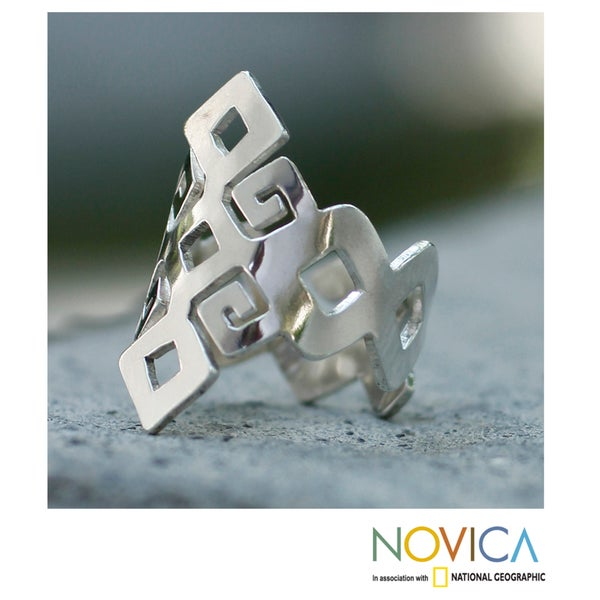 Handmade Sterling Silver 'Chiapas Maya' Ring (Mexico)