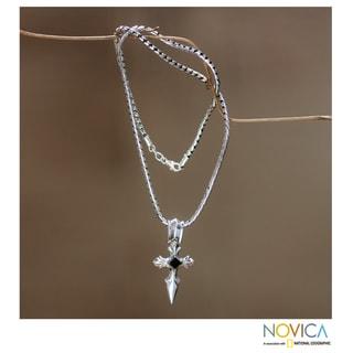 Protector Handmade Artisan Designer Men's Fashion Sterling Silver Celtic Black Onyx Cross Gemstone Jewelry Necklace (Indonesia)