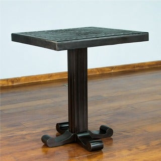 Cedar and Leather 'Inca Legacy' Accent Table (Peru)