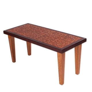 Streamlined Traditional Colonial Marigold Tones of Brown Hand Tooled Leather and Cedar Wood Decorator Accent Coffee Table (Peru)