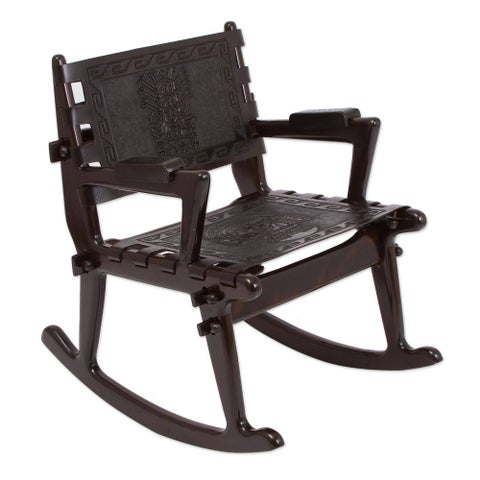 Handmade Tornillo Wood and Leather 'Chavin Deities' Rocking Chair (Peru)