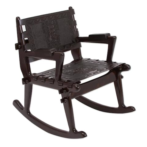 Tornillo Wood and Leather Chavin Deities Rocking Chair