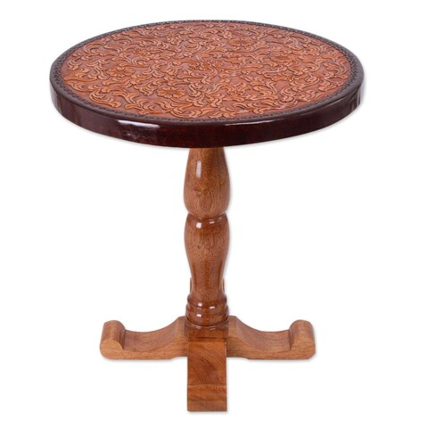 Handmade Tornillo Wood and Leather 'Colonial Floral Light' End Table (Peru)
