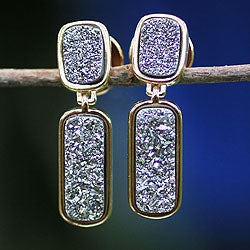 Handmade Gold Overlay 'Magic' Brazilian Drusy Agate Earrings (Brazil)