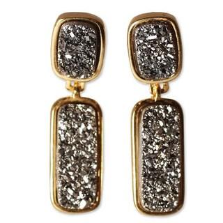 Handmade Gold Overlay 'Magic' Brazilian Drusy Agate Earrings (Brazil)